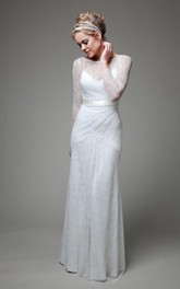 Bateau Illusion Sleeve Sheath Lace Wedding Dress With Sash And Low-V Back