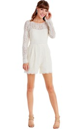 Long-Sleeve Scoop-Neck Knee-Length Lace Little White Dress