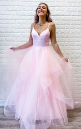 Satin Tulle Floor-length A Line Sleeveless Adorable Prom Dress with Ruffles