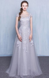Tulle Floor-length A Line Short Sleeve Casual Prom Dress with Appliques