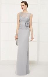 Illusion Bateau Sleeveless Sheath Long Dress With Lace Top And Waist Flower