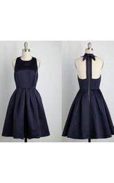 Elegant Halter Sleeveless Satin Short Dress