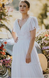 Elegant V-neck Lace A Line Floor-length Short Sleeve Wedding Dress with Ruffles