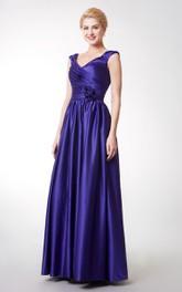 Stunning Cap-sleeved V-neck Long Satin Dress With Flowers