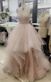 A-Line Tulle V-neck Sleeveless Zipper Dress