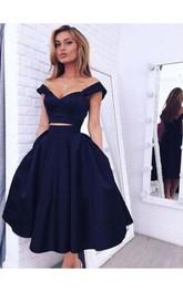 Two Pieces Off Shoulder Straps Tea-length Satin Dress