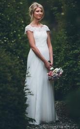 Satin Lace Tulle Floor-length A Line Short Sleeve Ethereal Adorable Wedding Dress