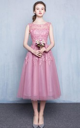 Scoop Neck Appliques Beading Tea-Length Prom Dress