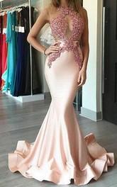 Mermaid Trumpet Satin Lace High Neck Sleeveless Illusion Dress
