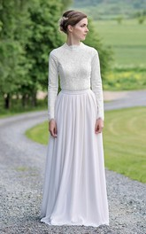 Modest Lace and Chiffonk Long-Sleeve Floor Length Wedding Dress