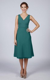 V Back V Back A-line Chiffon Short Dress Turquoise