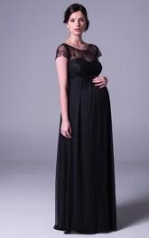 Maxi Cap Sleeve Scoop Neck Empire Lace Chiffon Bridesmaid Dress
