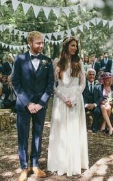 Elegant Long Sleeve Halter Wedding Dress Lace Open Back