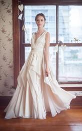Sleeveless Deep-V Neck Chiffon Dress With Lace Bodice and Pleated Skirt
