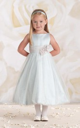 Flower Girl Bateau Empire Satin Gown With Tulle Skirt