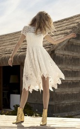 Knee-length Informal Short Sleeve Country Wedding Dress With Illusion Lace Details