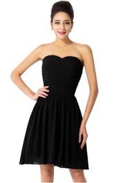 Sweetheart A-line Criss-cross Ruched Chiffon Dress