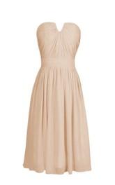Strapless Short Chiffon Dress With Notched Neckline