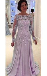 Bateau A-line Floor-length Long Sleeve Chiffon Lace Mother of the Bride Dress with Zipper Back