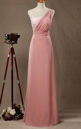Floor-length One-shoulder Chiffon&Lace&Satin Dress
