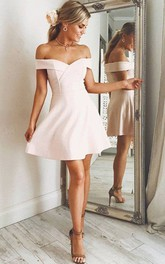 A-line Sleeveless Chiffon Off-the-shoulder Zipper Short Mini Homecoming Dress