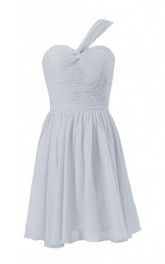 One-shoulder Mini Chiffon Dress With Ruched Bodice