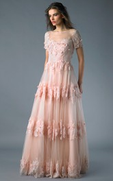 A-line Floor-length Bateau Short Sleeve Lace Zipper Dress