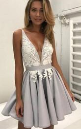 A-line Sleeveless Chiffon Plunging Neckline Straps Short Mini Homecoming Dress