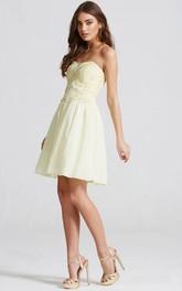 Short Sweetheart Sleeveless Beaded Chiffon Bridesmaid Dress