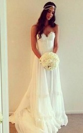 Sweetheart Pleated A-line Tulle Gown Sweep Train