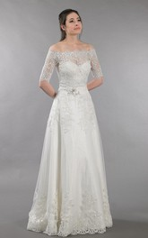 A-Line Off-The-Shoulder Lace Dress With Open Back and Beadings