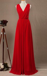 Floor-length Strapped V-neck Chiffon&Satin Dress With Criss cross