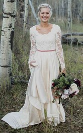 Elegant Long Sleeve Sheath Scalloped Lace And Satin Wedding Gown