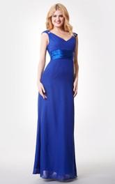 Elegant V-neck Ruched Waist A-line Long Chiffon Dress