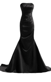 Strapless Satin Mermaid Gown With Beadings and Ruching