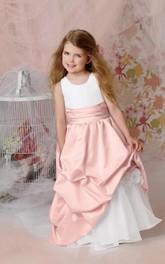 Flower Girl Jewel Organza Ball Gown With Taffeta Pick-up Skirt