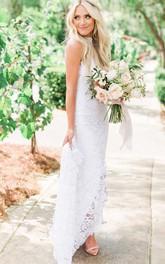 Romantic High Neck Lace Sheath Floor-length Sweep Train Sleeveless Wedding Dress