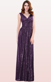 V-neck A Line Sleeveless Floor-length Sequins Bridesmaid Dress With Ruching