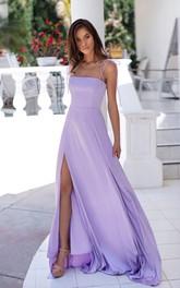 Satin Floor-length A Line Sleeveless Modern Formal Dress with Split Front