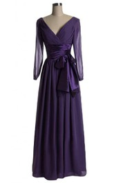 3-4 Sleeved A-line Dress With Bow and Illusion Style