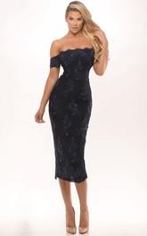 Tea-Length Sleeveless Off-The-Shoulder Appliqued Chiffon Prom Dress