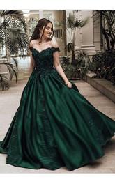 A-Line Ball Gown Satin Lace Off-the-shoulder Short Sleeve Zipper Dress