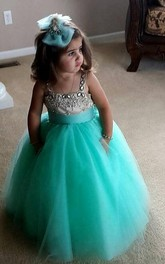 Flower Girl Square Neck Tulle Ball Gown With Beaded Satin Top