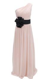 One-shoulder Chifon Dress With Floral Belt