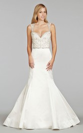 Magnificent Beaded Embroidered Bodice Satin Mermaid Dress With Keyhole Back