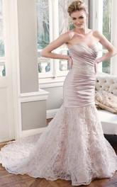 Sheath Sweetheart Criss-Cross Floor-Length Sleeveless Wedding Dress With Waist Jewellery And Ruffles