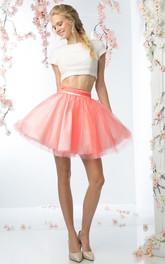 A-Line Short Jewel-Neck Short Sleeve Tulle Satin Keyhole Dress With Beading
