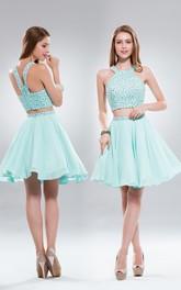 Two-Piece A-Line Mini Scoop-Neck Sleeveless Chiffon Zipper Dress With Beading
