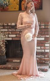 Sheath Illusion Long Sleeve Empire Maternity Dress
