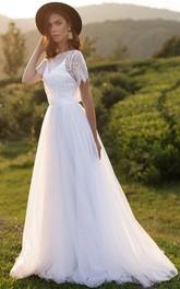 Lace Tulle Floor-length Sweep Train A Line Short Sleeve Elegant Wedding Dress